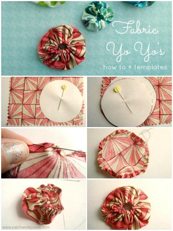 fabric yo yo tutorial with printable templates | patchwork posse #yoyo #freepattern