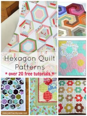 hexagon quilt pattern Round up. Over 20 free patterns and tutorials | patchwork posse #hexagonquiltpattern #freequiltpatterns