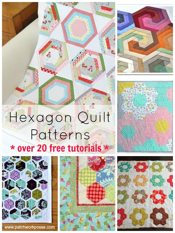 hexagon quilt pattern Round up. Over 20 free patterns and tutorials | patchwork posse #hexagonquiltpattern #freequiltpatterns