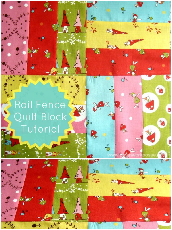 Rail Fence Quilt Block Tutorial | patchwork posse #quiltblock #tutorial #freepattern