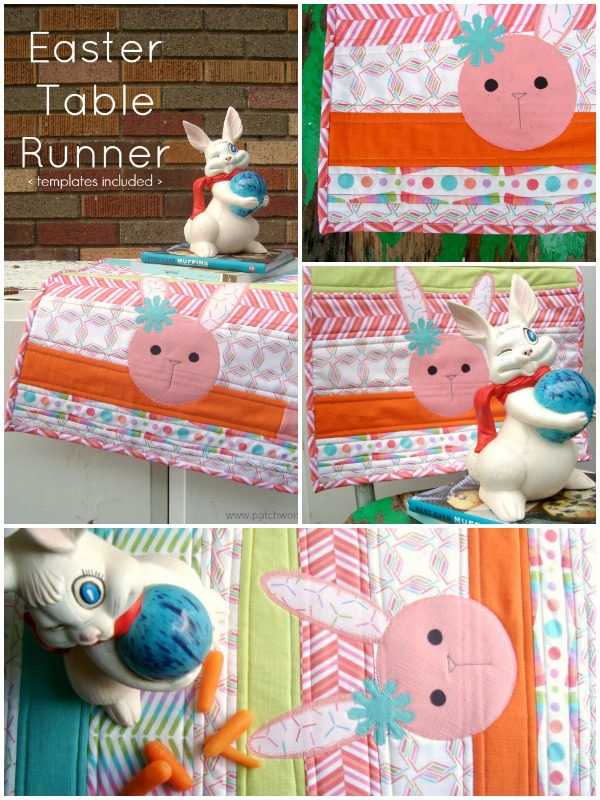 This quilt as you go table runner is great for any time of the year. Quickly sew it and finish it in one day! Free Easter applique printable also included. table runner tutorial | patchwork posse #easter #quiltasyougo