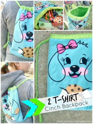 tshirt cinch sack tutorial #upcycle #freepattern | patchworkposse.com