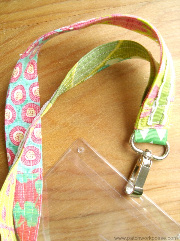 Lanyard tutorial with fabric and ribbon.