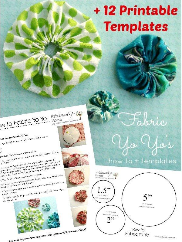 12 printable fabric yo yo templates for Yo yo patterns crafts