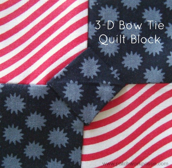 3 D Bow Tie Quilt Block Tutorial these are so much fun! there are other 3d blocks included too.