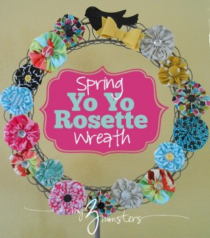 spring yoyo rosette wreath-- titled