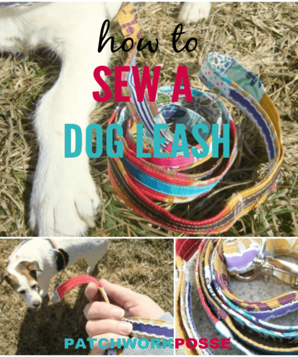 Sew a simple dog leash with a clip on one end and handle on the other. The patchwork leash is embellished with a ribbon- great for scraps and it's Super cute! #sewing #diy #dogs