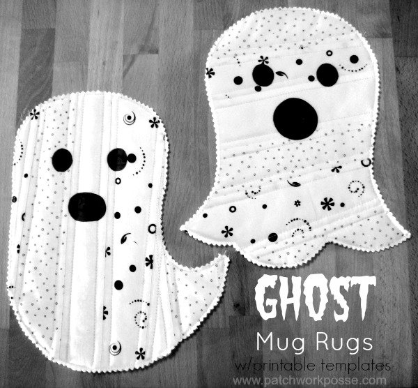 Simple and quick and a great project for Halloween. The whole process is Quilt As You Go, so when you are done with the ghost, you are done with the mug rug. #quiltasyougo #halloween #mugrug