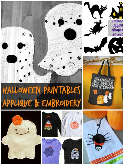 20 + Halloween Applique and Embroidery Printables