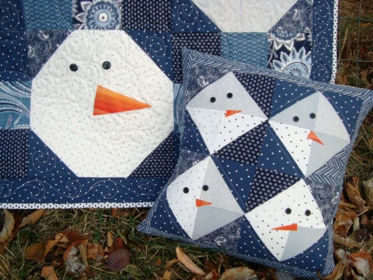 Snowman quilt and pillow set | patchworkposse #christmas #snowman #pillow #quilt