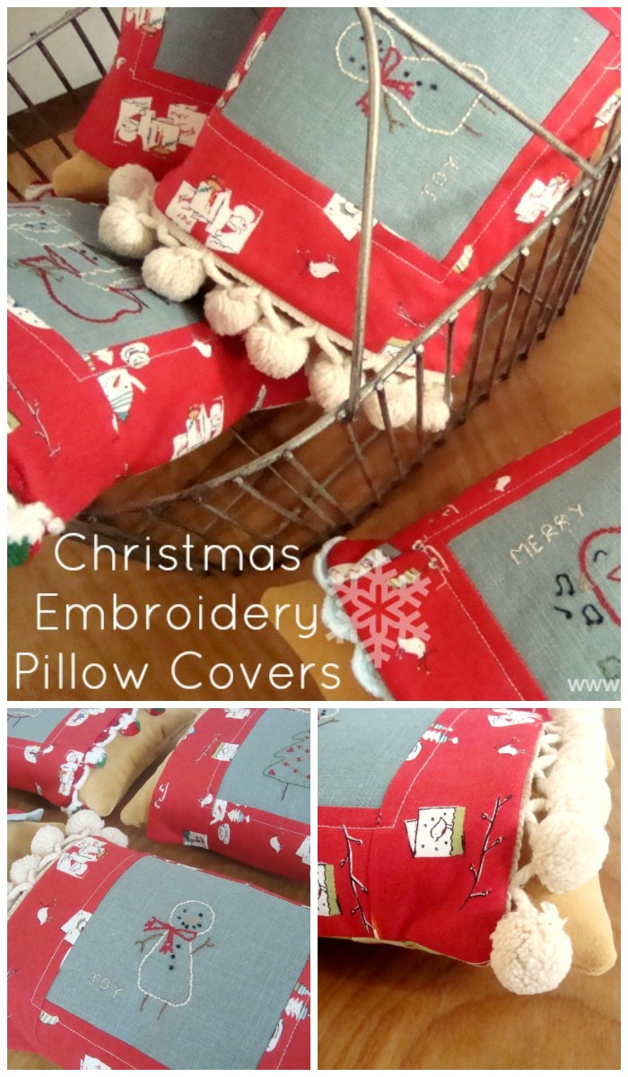 christmas embriodery pillow sleeve tutorial   PatchworkPosse #embroidery #christmas #pillow
