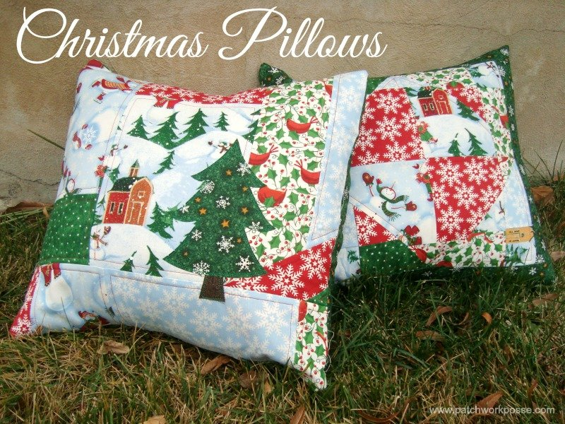 Easy Christmas Patchwork Pillows To Sew: 2 Quick and Simple Christmas Pillows,