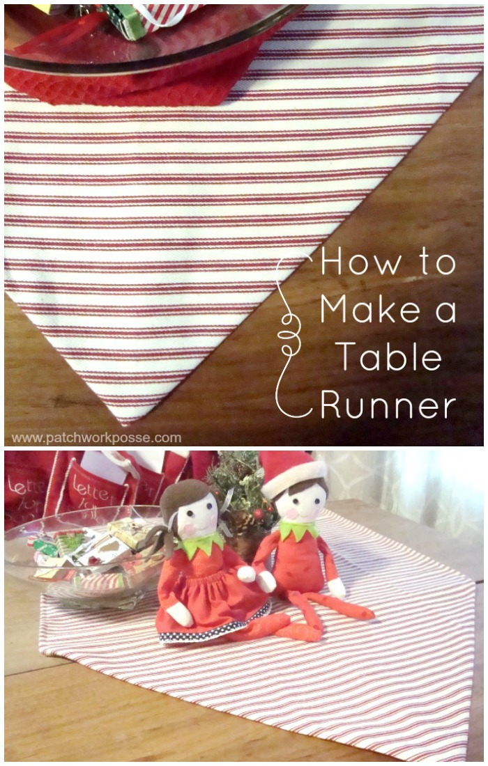 how to make a table runner in 30 minutes with a point end | PatchworkPosse #easysewingproject #tablerunner #homedecor