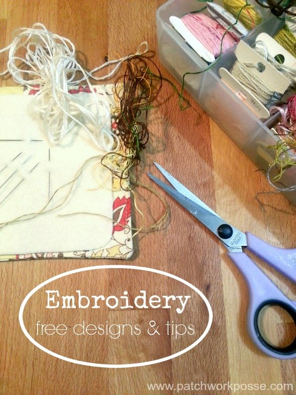 Embroidery - Free Embroidery Designs & Tips | PatchworkPosse #stitching #embroidery #freepatterns