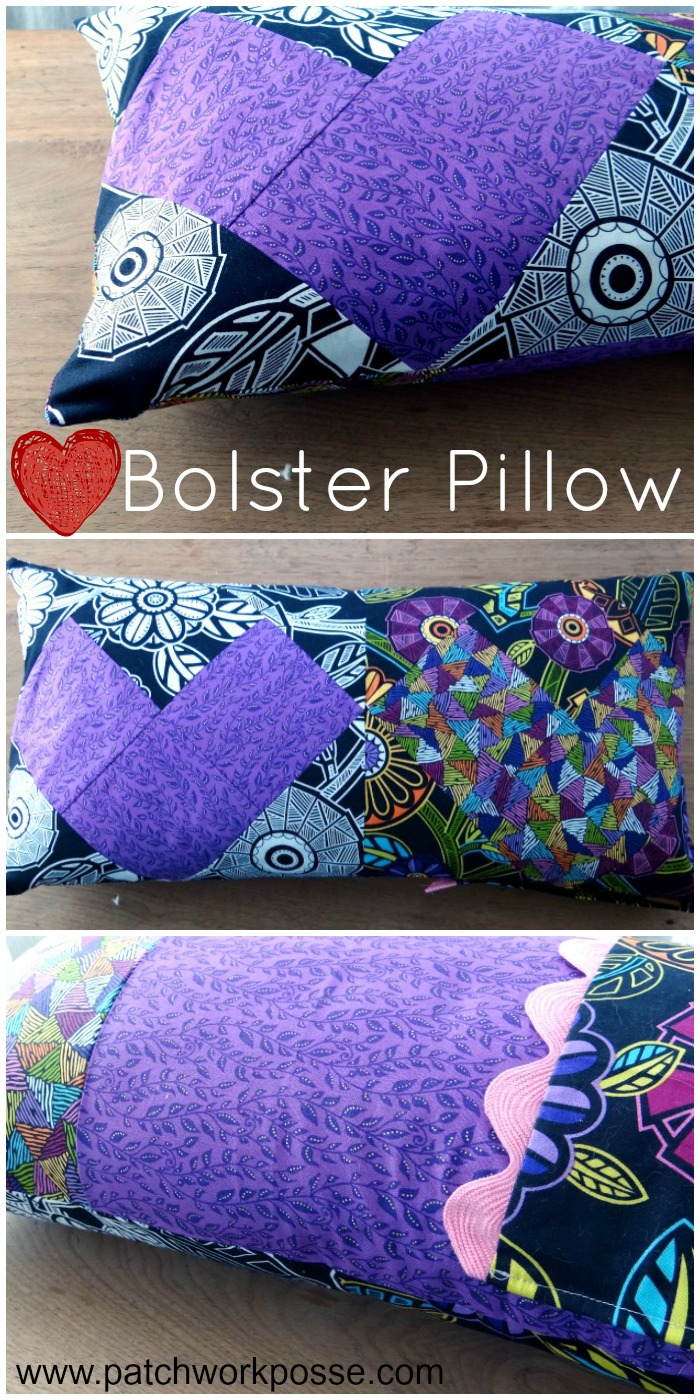 heart bolster pillow tutorial   PatchworkPosse #pillow #homedecor #freepattern #valentines Sew up a simple bolster pillow using two heart quilt blocks.  Super simple and cute! Great for Valentines