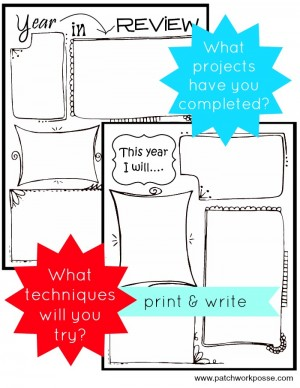 printable set for year in review and what I will try this next year. PatchworkPosse #sewing #diy #printable
