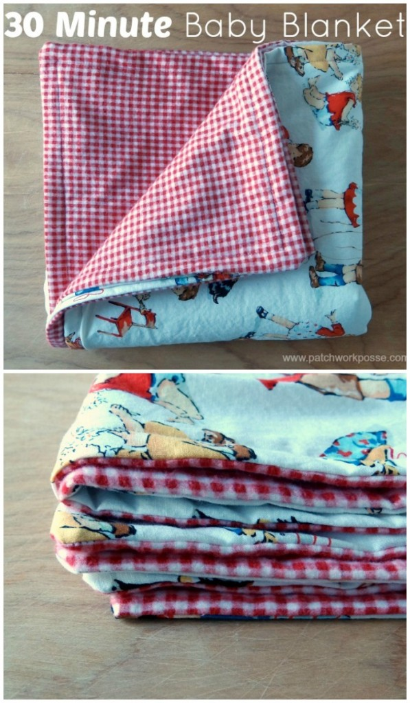 Need a baby blanket quick? This one only takes 30 minutes. Great for baby showers and presents for new moms. #QUILTING #SEWING