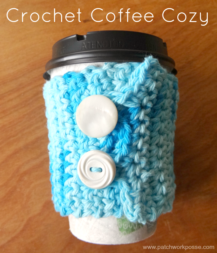 crochet coffee cozy tutorial with button closure
