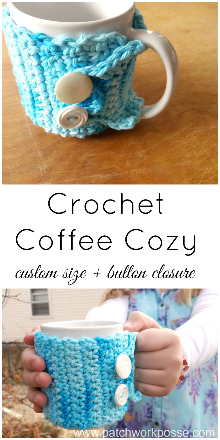 crochet coffee cozy tutorial with button closure