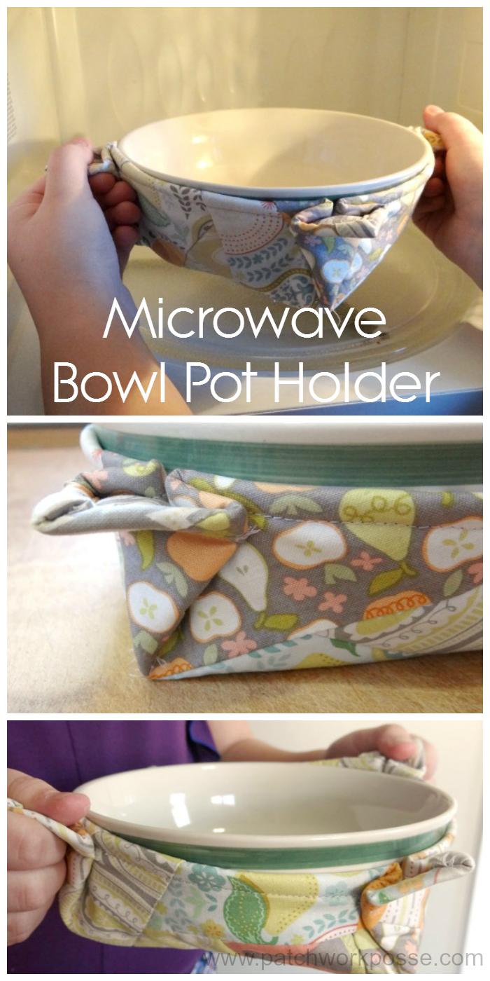 microwave bowl pot holder - great tutorial and perfect for using in the microwave. won't get hot and there are little handles too!