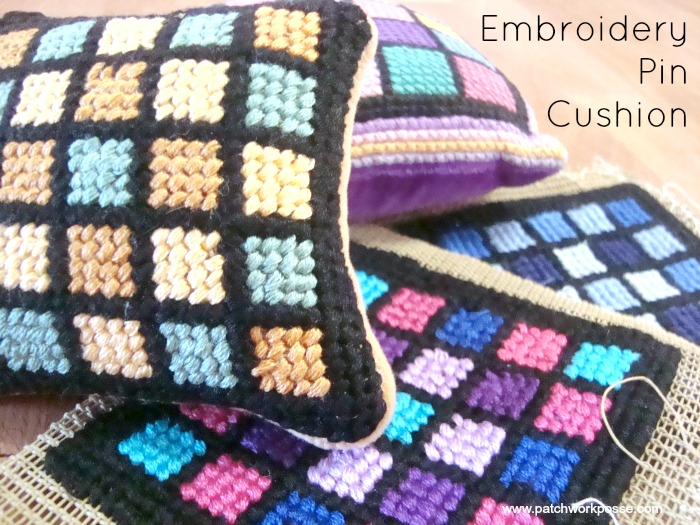 pin cushion pattern with vintage embroidery