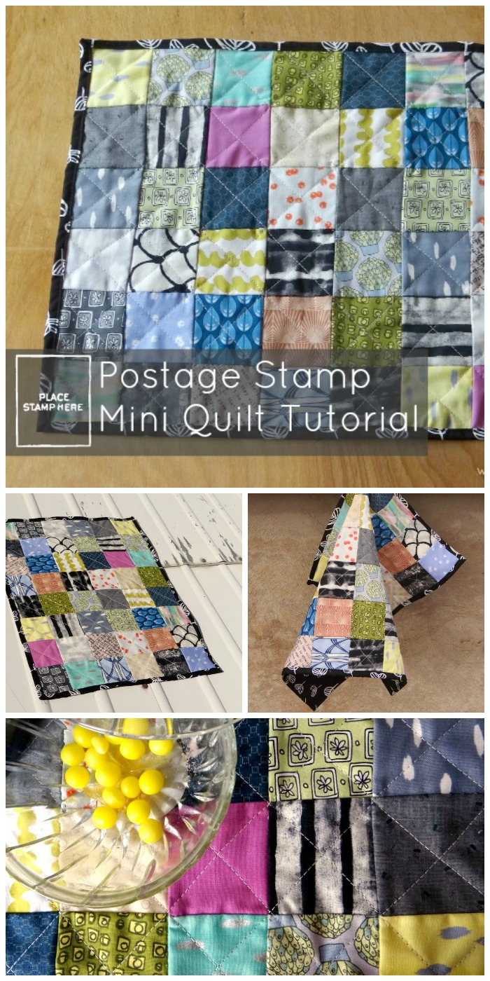 postage stamp mini quilt tutorial great for scraps