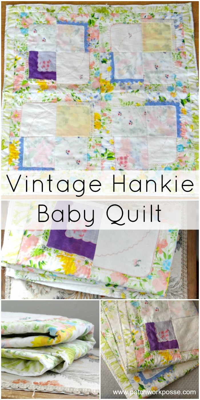 vintage hankie and fabric baby quilt pattern