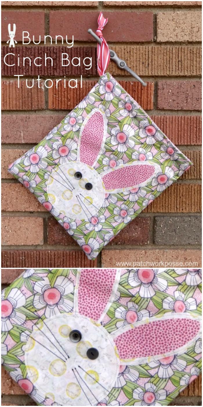 cinch bag tutorial with bunny applique