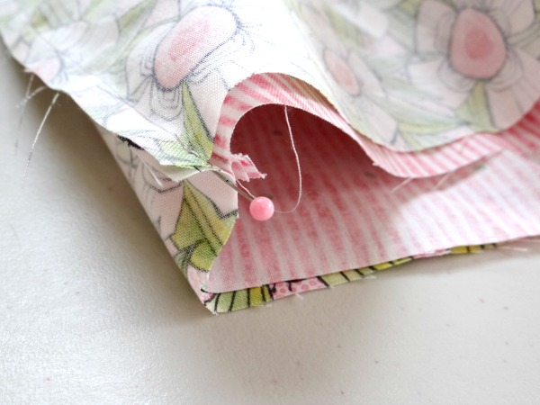 line up the side seams for a bunny cinch bag