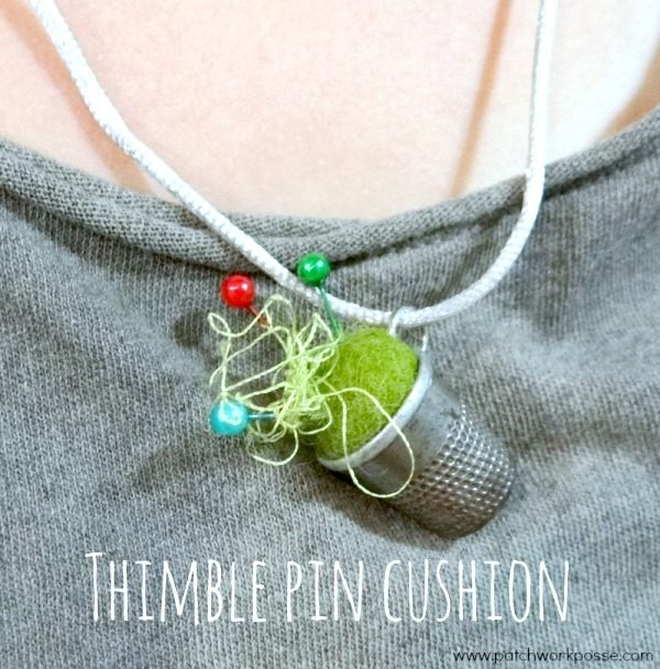 Learn how to make a thimble pincushion. quick and simple and so cute! Great for a gift - #pincushion #sewing #tutorial