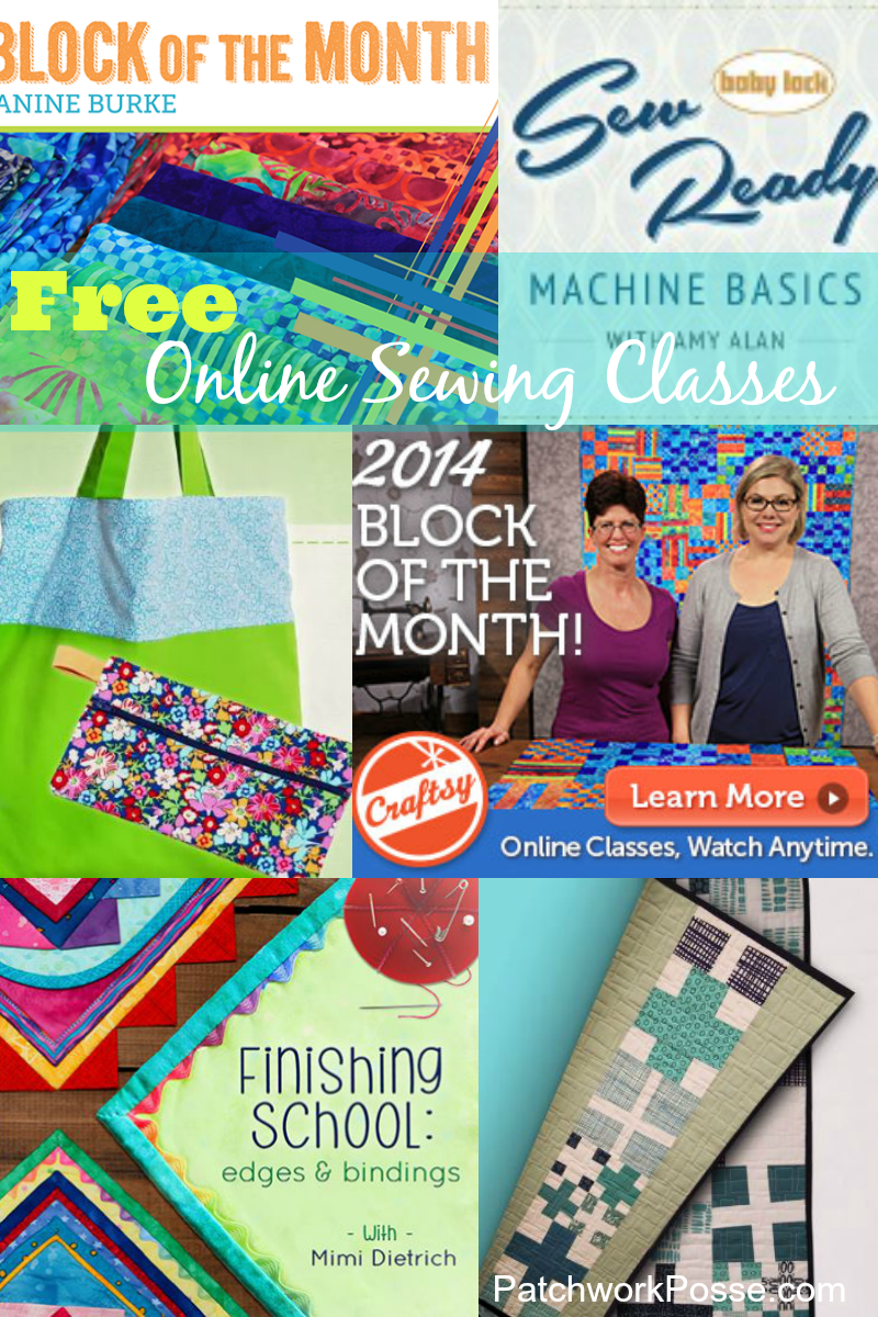 free online sewing classes.  Lots of topics to choose from! Great place to start learning how to sew.