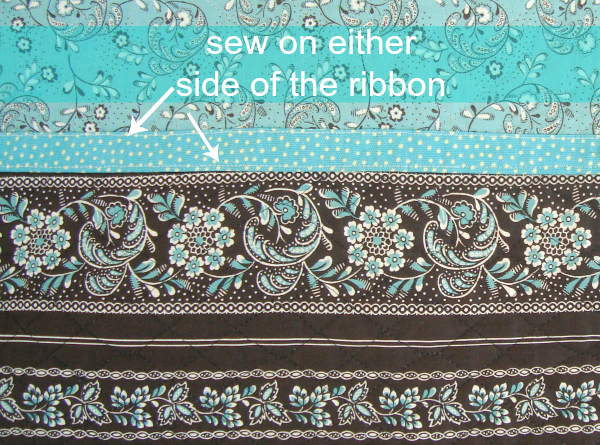 sew the ribbon in place
