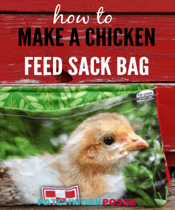 Sew your chicken feed bag into a super cute fabric bag. Great for holding fabric, yarn, ribbon, thread or anything else in the house!
