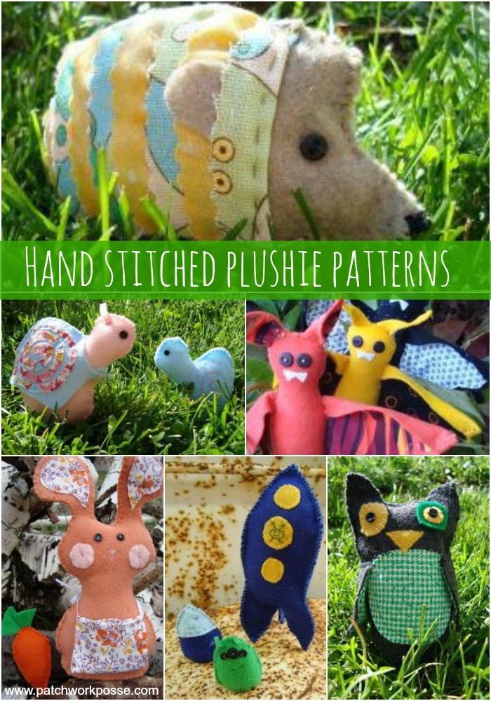 hand stitched plushie patterns- learn the whip stitch and running stitch while sewing something cute!