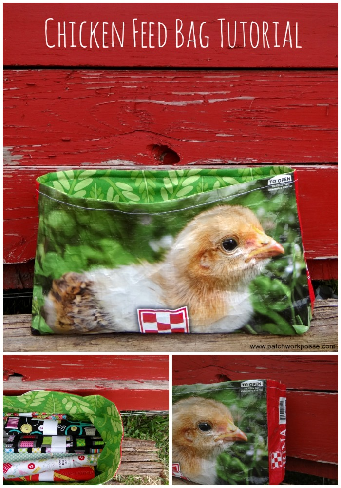 make a bag with a chicken feed sack