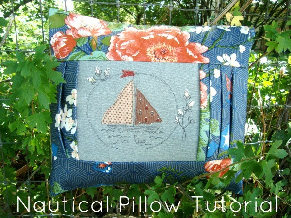 nautical pillow tutorial with raw edge applique and thread drawing.