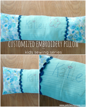 embroidery pillow kids sewing series