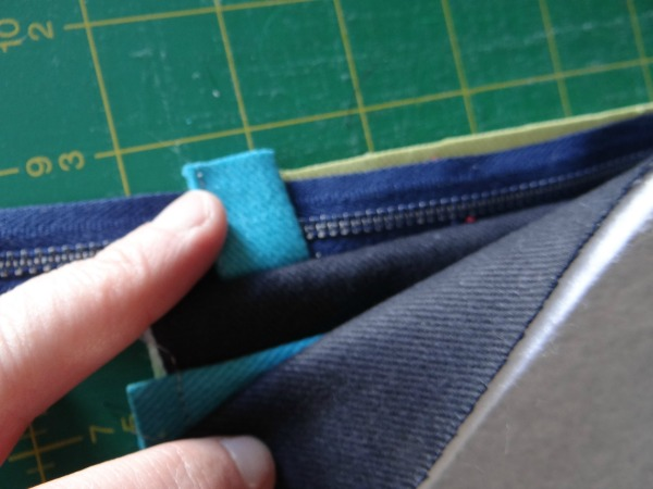 second sewing of zipper