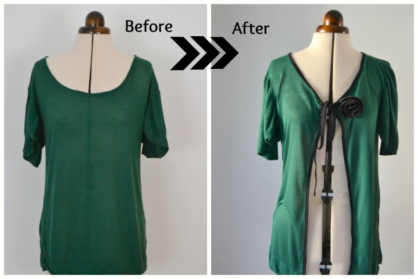 Learn a diy trick!  Take your old sweater and make it into a new cardigan.  It's not hard to do!  Come learn how.  this is the before and after picture!