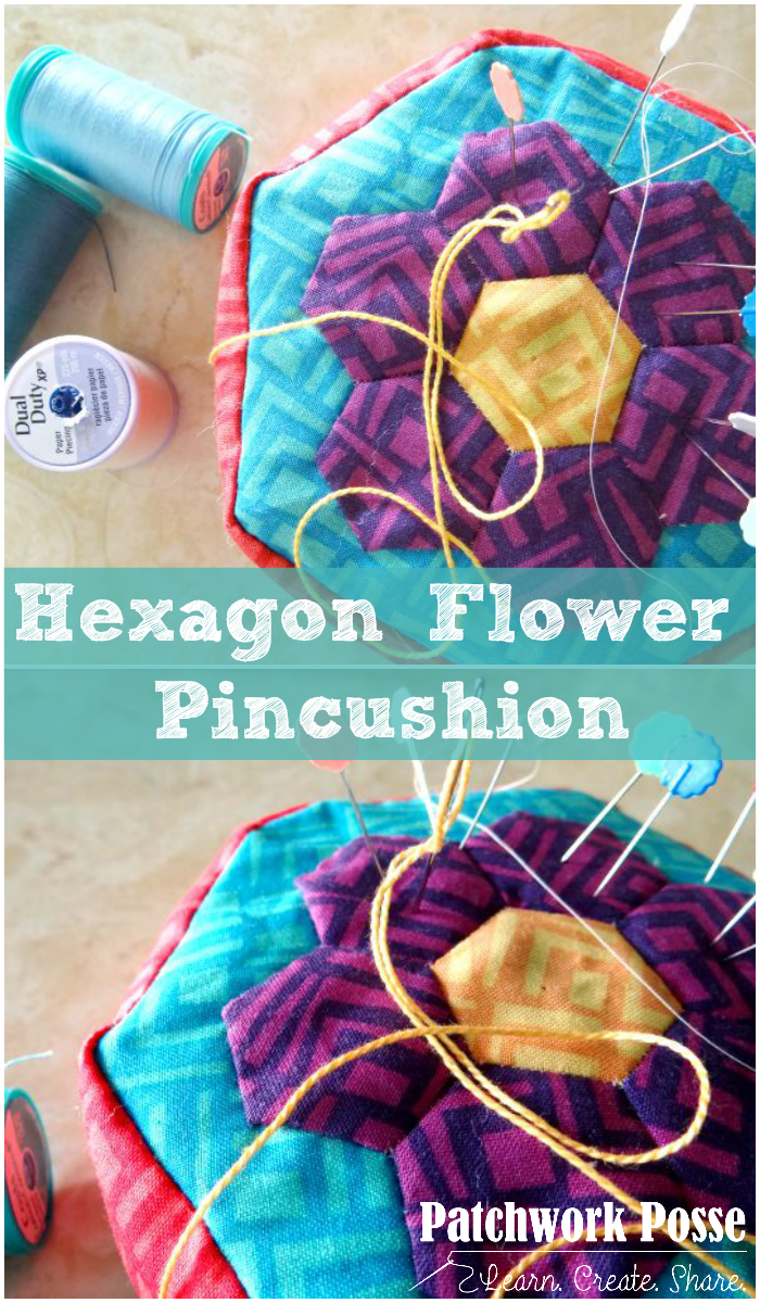 hexagon flower pincushion tutorial