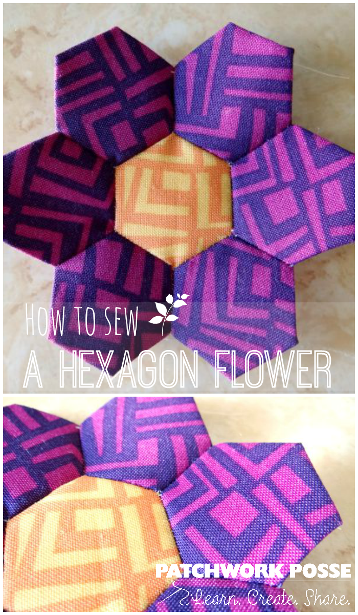 how to sew a hexagon flower tutorial