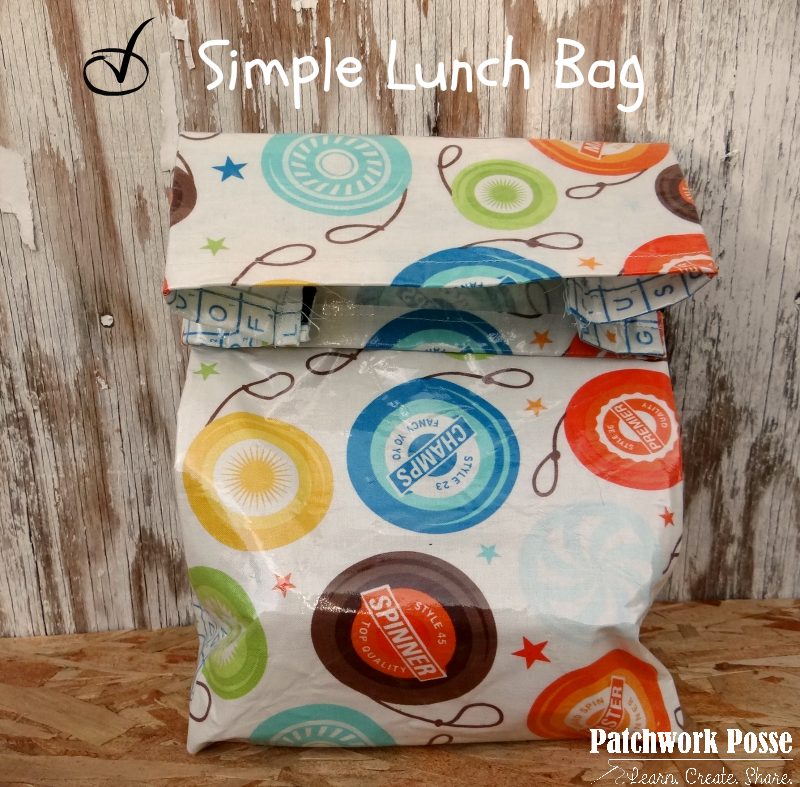 simple lunch bag pattern free tutorial you can use. Supplies list too so you know what you need to sew it up.