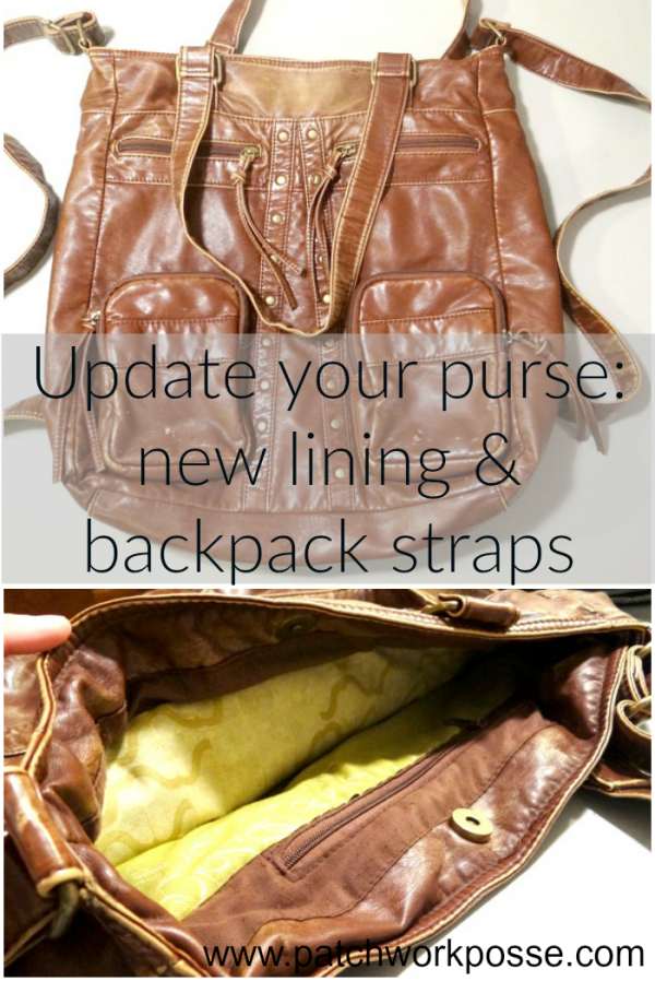 new lining and backpack - update your purse with changing the straps and adding a new lining.