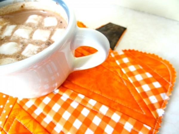 pumpkin mug rug quilt as you go technique