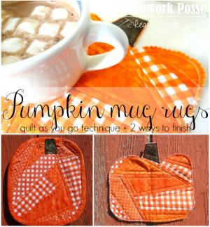 quilt as you go mug rugs pumpkin