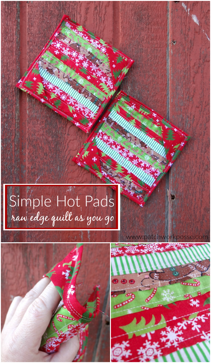 hot pad tutorial with raw edge quilt as you go