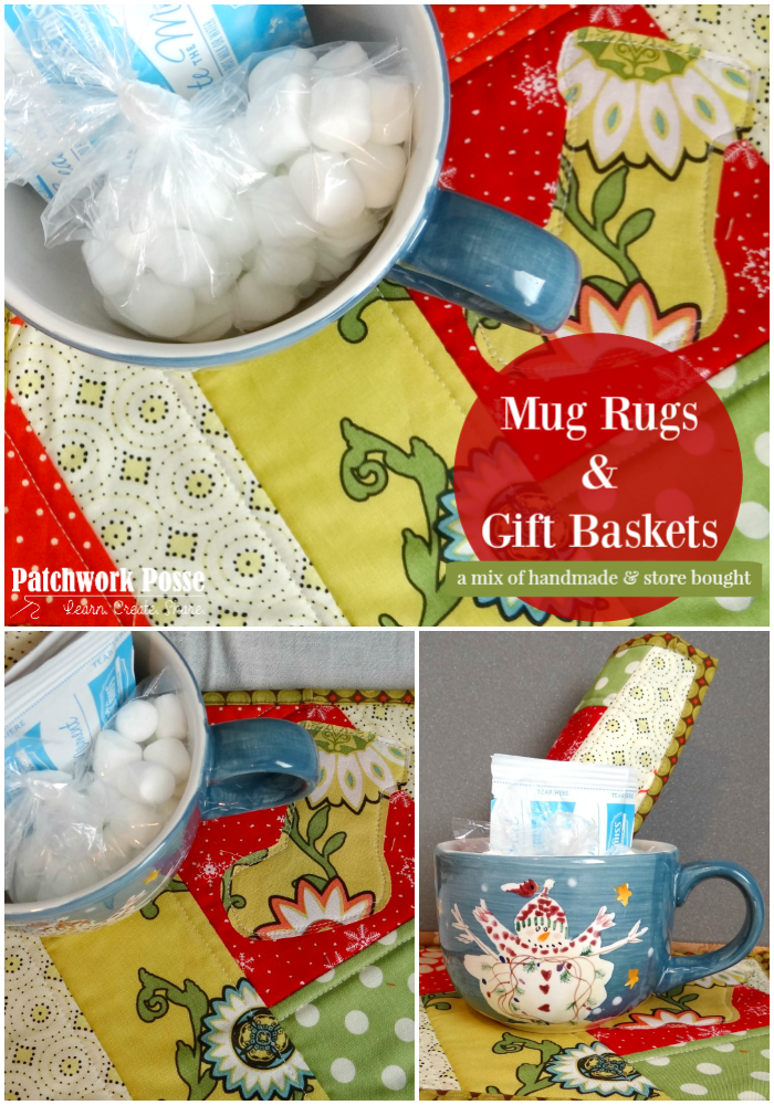 mug rugs - make your own gift basket and include a mug rug. Super simple and cute!