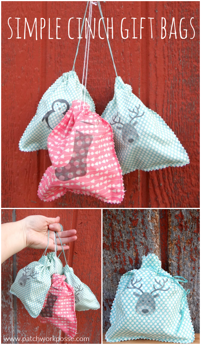 simple cinch gift bags with image you can sew