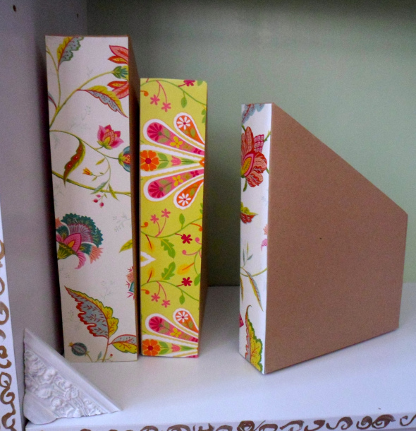 magazine holder made with cereal boxes