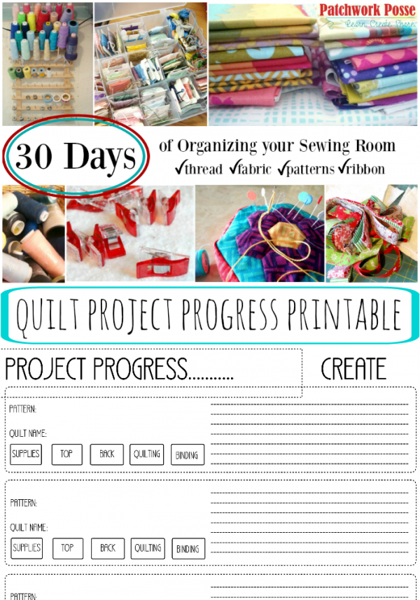 quilt project printable 30 days of organizing